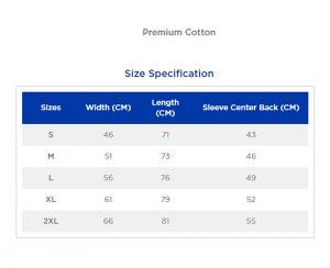 Size chart premium cotton-ringspun
